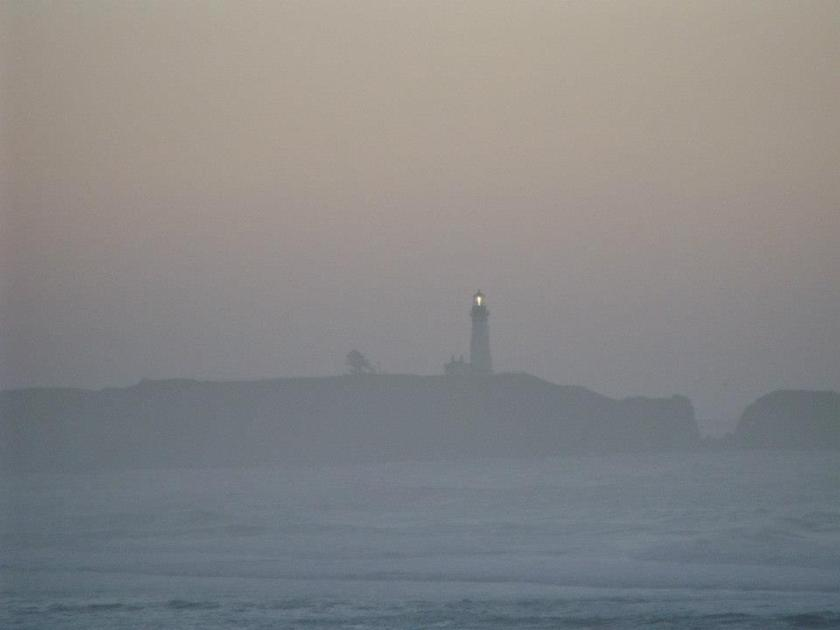 lighthouse in fog